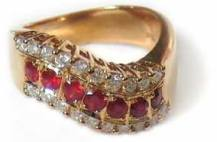 Custom Made Diamond and Ruby Ring