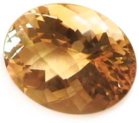 checkerboard cut of Citrine gem stone
